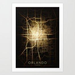 orlando Florida usa city night light map Art Print
