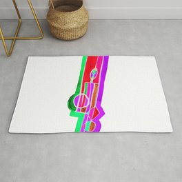 Man with Colorful Geometry in Pink-Red-Green Rug