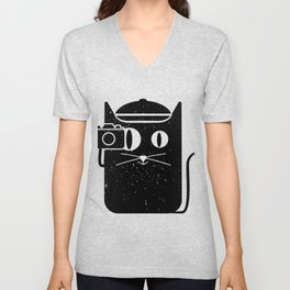 Cat & Camera Unisex V-Neck
