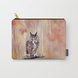 Great Horned Owl perched in the autumn forest Carry-All Pouch