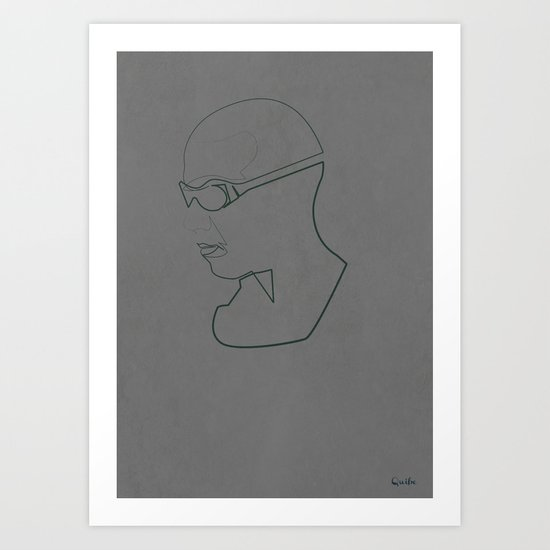 One Line Pitch Black Art Print