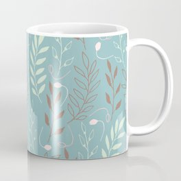 Elegant Teal Leaf Pattern Coffee Mug