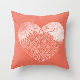 Love birds sitting on a tree Throw Pillow