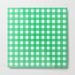 Green Gingham Metal Print