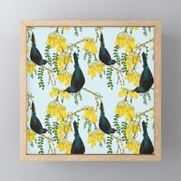 Tuis in the Kowhai Flowers Framed Mini Art Print