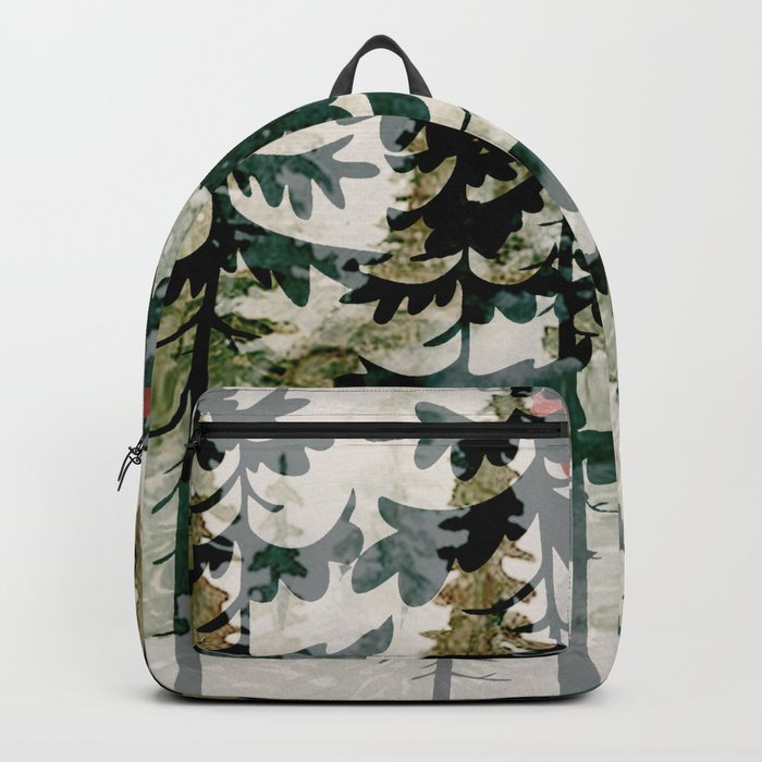 Forest Trees and Red Sun Backpack