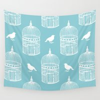 cage Wall Tapestries featuring Bird Cage Pattern. by Elena O'Neill