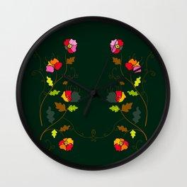 Bright Floral Climbing Vine on Dark Green Wall Clock