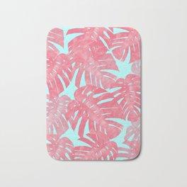 Tropical leaves pink Bath Mat