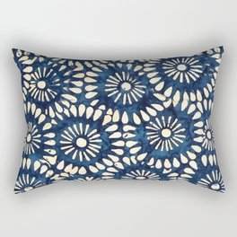 Blue and White Flower Pattern Rectangular Pillow