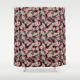 Acanthus Leaves and Dogwood Floral pattern Shower Curtain