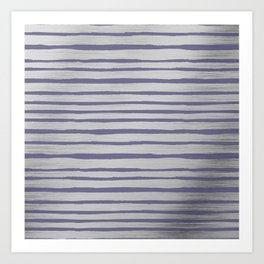 Violet gray silver watercolor brushstrokes stripes Art Print