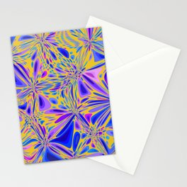 FREESIA bright summer colours in abstract floral dragonfly pattern Stationery Cards