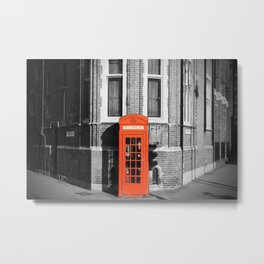 London Calling Red Telephone Phone Booth Metal Print