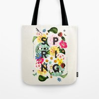 spring Tote Bags featuring SPRING by Dawn Gardner