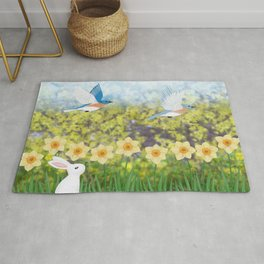 Eastern bluebirds, daffodils, and white rabbit Rug