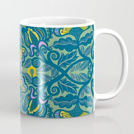 Blue Vines and Folk Art Flowers Pattern Coffee Mug