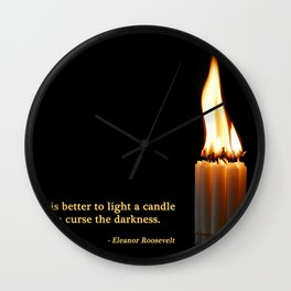 A Candle Against The Dark Wall Clock