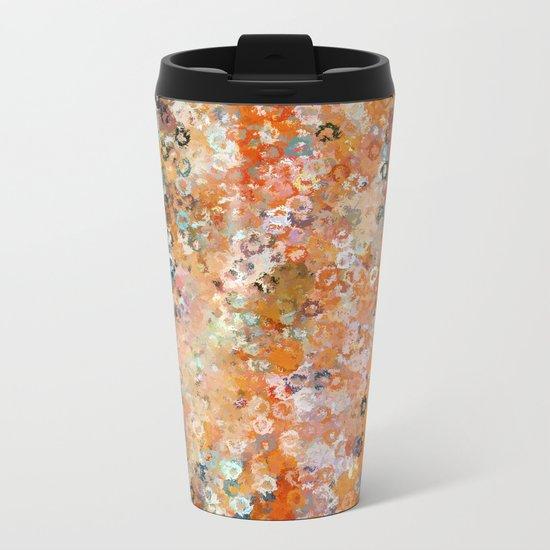 Blotchy Autumn Watercolor Pattern Metal Travel Mug