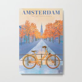 Netherlands, Amsterdam Travel Poster Metal Print