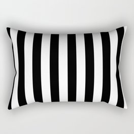 Narrow Vertical Stripes - White and Black Rectangular Pillow