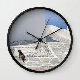 The Cat by The Aegean Sea, Milos Wall Clock