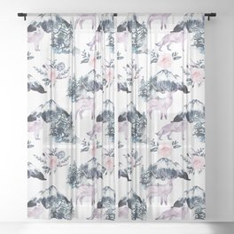 Bohemian Woodland Wild Animals In The Mountains Sheer Curtain