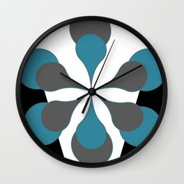 Mid-Century Modern Art 1.4B Grey Aqua Flower Wall Clock