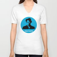 tom waits V-neck T-shirts featuring Tom Waits Record Painting by All Surfaces Design