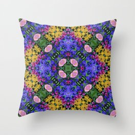 Floral Spectacular: Blue, Plum and Gold - repeating pattern, diamond, Olbrich Botanical Gardens, Mad Throw Pillow