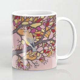 cedar waxwings on the stained glass tree Coffee Mug