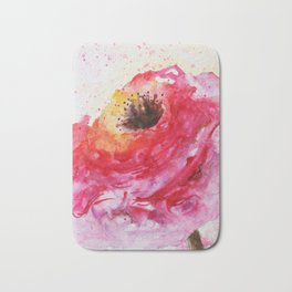 Big Pink Rose Blossom watercolor by CheyAnne Sexton Bath Mat