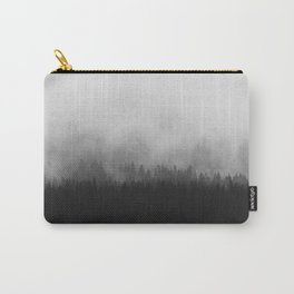 Minimalist Modern Black And white photography Landscape Misty Black Pine Forest Watercolor Effect Sp Carry-All Pouch