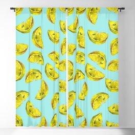 Lemon Slices Pattern Turquoise Blackout Curtain