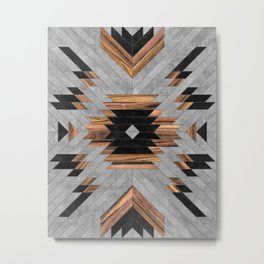 Urban Tribal Pattern No.6 - Aztec - Concrete and Wood Metal Print