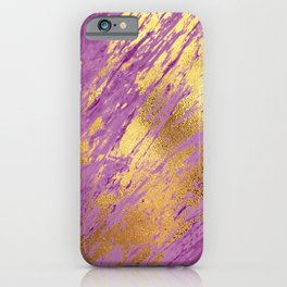Purple Faux Marble With Bling Gold Glitzy Veins iPhone Case