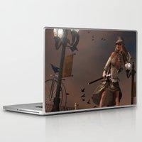 steam punk Laptop & iPad Skins featuring Steam Punk - The Crows by J. Ekstrom