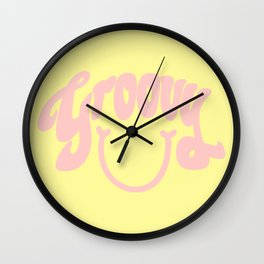 Groovy Smile // Fun Retro 70s Hippie Vibes Lemonade Yellow Grapefruit Pink Lettering Typography Art Wall Clock