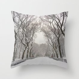 Central Park Mall Snow Throw Pillow