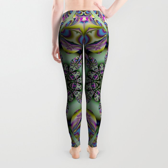 Colourful mandala with decorative shapes and tribal patterns Leggings