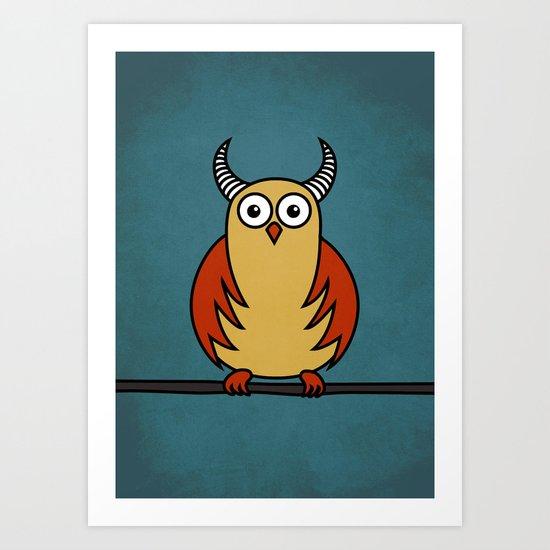 Funny Cartoon Horned Owl Art Print