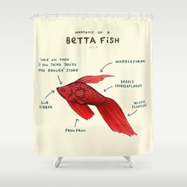 Anatomy of a Betta Fish Shower Curtain