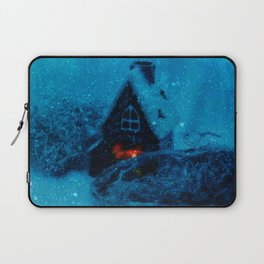 Small house in the snowy prairie- Christams winter image  Laptop Sleeve