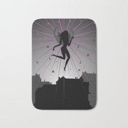 Dark angel soaring over houses Bath Mat