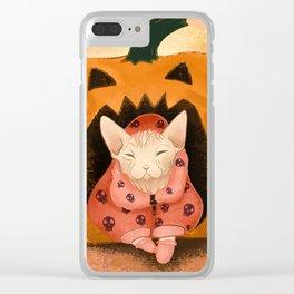 Sweater Weather - Sphynx Cat in a Skull Sweatshirt  - Pumpkin Clear iPhone Case