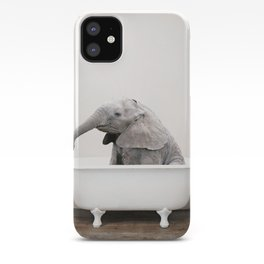 Baby Elephant in a Vintage Bathtub (c) iPhone Case