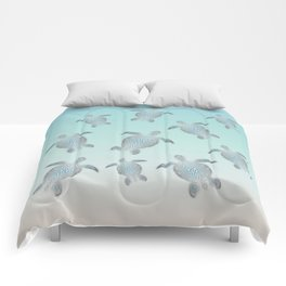 Silver Sea Turtles Comforters