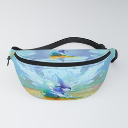 Birds flying. Sea, ocean waves. Gulls, colorful watercolor realistic panting. Blue water.. Fanny Pack