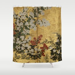 White Red Chrysanthemums Floral Japanese Gold Screen Shower Curtain