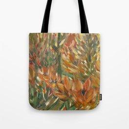 Floral orange print Tote Bag